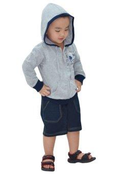 Áo khoác dây kéo in hình trái banh Kavio Kids (Xám)