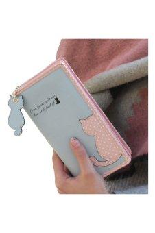 Cat Purse Long Wallet (Blue)