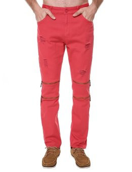 Cyber Mens Casual Distressed Destroyed with Holes Straight Fit Zipper Pocket Pants ( Red ) - intl