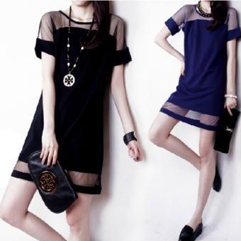 Đầm suông với thiết kế đơn giãn phối lưới đỉnh cao của phong cách-193_màu xanh