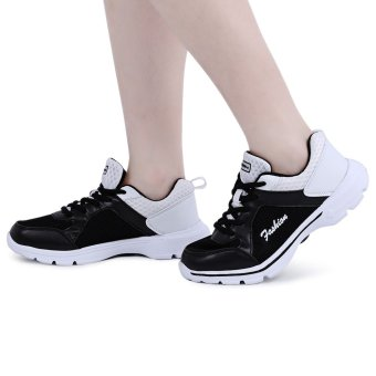 Casual Color Block Mesh Lace Up Ladies Sports Shoes(White and Black) - intl