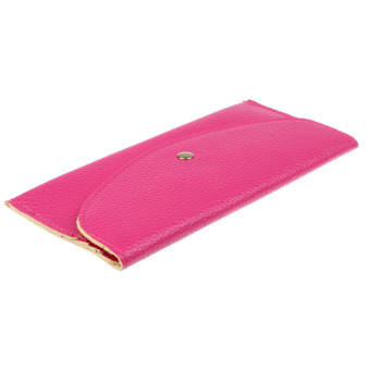 Candy Colors Envelope Slim Design Leather Wallet Hot Pink