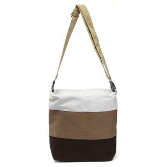 Women Canvas Contrast Patchwork Colors Design Shoulder Bag Khaki - Intl