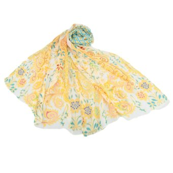 Fashion Women Chiffon Scarf Peacock Olives Print Long Shawl Wrap Casual Neckerchief - Intl