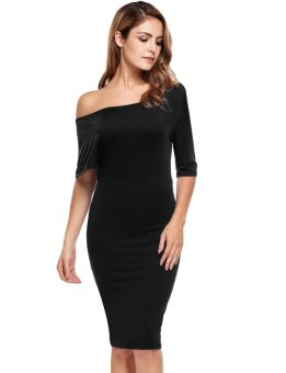 Cyber Women Casual Short Sleeve One Shoulder Solid Pullover Pencil Dress ( Black ) - intl