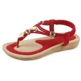 Women Summer Beaded Flat Sandals Open Toe Beach Flip Flops Sandal - intl