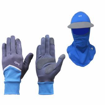 Bộ gồm găng tay Nonstop+ nón khẩu trang chống nắng UPF50+ zigzag COGM23 (xanh đen+xanh xám)