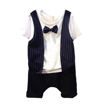 2pcs Kids Boys One Piece False Two T-shirt Tops Striped Vest Shorts Outfits - intl