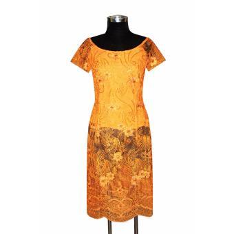 Áo dài cách tân ren thêu đính kim sa tay ngắn Tri Lan AD016 (Cam)