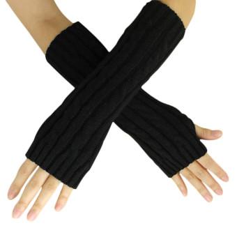 Hemp Flowers Fingerless Knitted Long Gloves Black - Intl