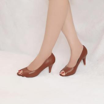 Giày nữ hở mũi cao gót 7cm da bò thật cao cấp màu nâu bò ESW123