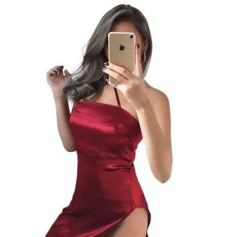 Hot Plus Size One Straps Sexy Backless Women Dress Off Shoulder Night Club Wear Side Slit Chic Elegant Dress for Ladies - intl