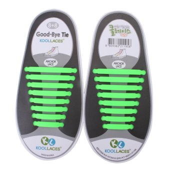 [Koollaces] New Patented Elastic No Tie Silicone Fashion Shoe Laces 16pcs 13 col Green - intl