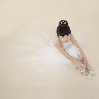 Girls Princess Ball Gown Dress Halter Neck Pure Color Gauze WHITE - intl
