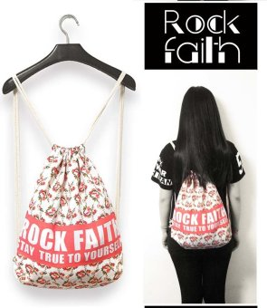 ZAFUL Women's canvas drawstring backpack vintage college student sports bag 5# - intl