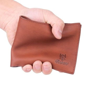 Mens Leather Bifold Wallet Credit/ID Card Holder Slim Coin Purse brown - intl