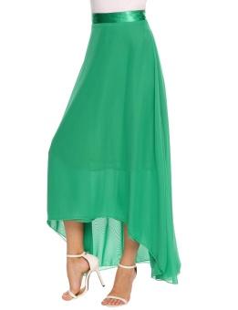 Cyber Women Casual Solid High Waist Side Zipper A-Line Pleated Swing Chiffon Skirt ( Green ) - intl