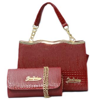 Bộ túi xách kèm ví Sóng Vàng TSV02 (Đỏ)