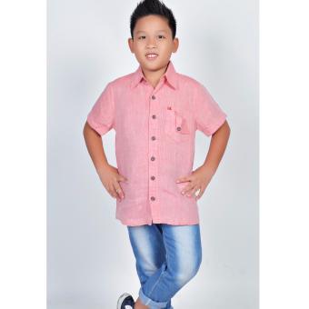 Áo sơ mi Linen bé trai Somy Kids màu hồng