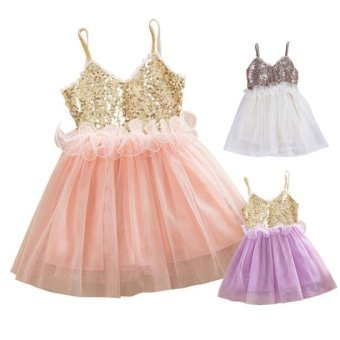 Kids Girls Princess Sequins Toddler Tulle Lace Tutu Slip Dress Beige - intl