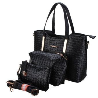 3PCS/SET Women Leather Satchel Handbag Shoulder Messenger Crossbody Bag Wallet Black - intl