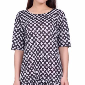Đầm Suông Ren Hoa Đuôi Cá Cổ Tròn Tay Lỡ SALOME FASHION (Hoa đen trắng)