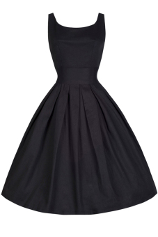 Women's Vintage Retro Elegant Sleeveless A Line Slim Fit Ball Gown Dress Black XXL - Intl