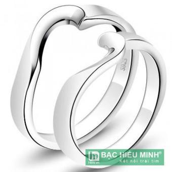 Nhẫn đôi Bạc Hiểu Minh nc058 mảnh ghép tình yêu