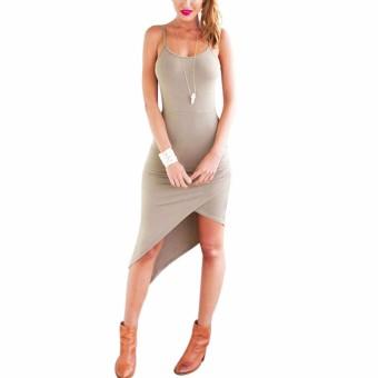 YOINS Summer Sexy Boho Asymmetric Spaghetti Sleeveless Beach Dress Casual Bodycon Vestidos Femininos Strap Hip Clubwear - intl