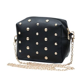 Fashion Women Messenger Bags Rivet Chain Shoulder Bag Leather Crossbody Black