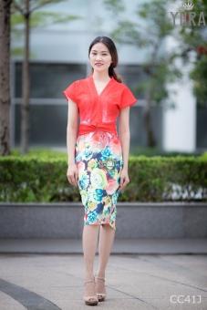 Đầm hoa body thắt eo quyến rũ CC41J
