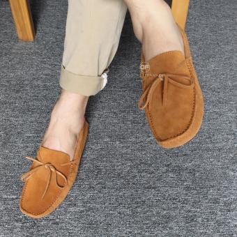 Giày Lười Nam Da Lộn Thời Trang New 2017-AF0014-Nâu Bò
