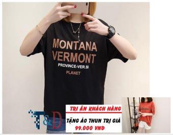 Áo Thun Nữ In Hình Montana Cá Tính D340 Trần Doanh ( Màu Đen ) + Tặng Áo Thun In Hình T&D Cao Cấp