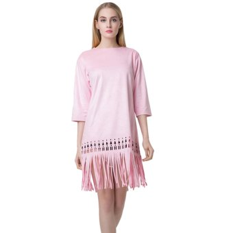 New Fashion Women Dress Faux Suede Round Neck Zipper Back Tassel Hem Solid Color Dress - Intl