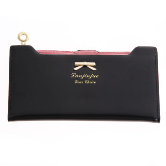New Fashion Lady Women Leather Clutch Wallet Long Card Holder(black)