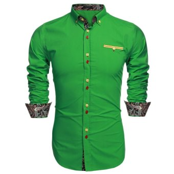 Linemart ?COOFANDY Men Long Sleeve Turn Down Neck Front Pocket Loose Tops Casual Dress Cotton Button Down Shirts ( Green ) - intl