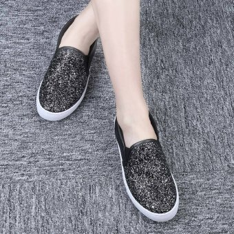 Ladies Causal Lazy Shoes Bling Glitter Flats (Black) - intl