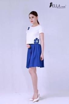 Chân váy xòe màu xanh Bella moda