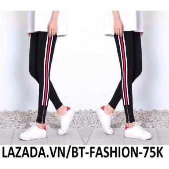 Quần Ôm Legging 3 Sọc + Dây Kéo Chân Thời Trang - BT Fashion QD003E (2 Sọc Trắng, 1 Sọc Đỏ)