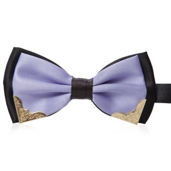 Double-Deck Color Block Bow Tie T15 LIGHT PURPLE - Intl