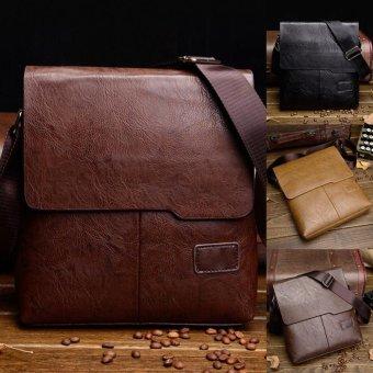 Moonar Men's Casual PU Leather Crossbody Bag Business Cowhide Waterproof Messenger Shoulder Sling Bag (Brown) - intl