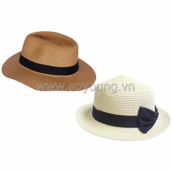 Bộ 2 Mũ Cói Đi Biển Nam Nữ SoYoung SYCB HAT 043 BR PS WM LR BRIM CAP 005 W N