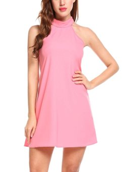 Sunweb Women Sexy Halter Bandage Sleeveless Backless Solid A-Line Pleated Hem Chiffon Dress with Pockets ( Pink ) - intl