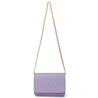 Women Leather Handbag Messenger Crossbody Purse Chain Shoulder Bag Purple - intl