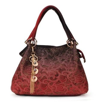 Fashion Carved Hollow Out Auspicious Clouds Pattern Women Handbags Red - Intl