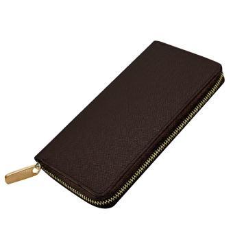 Men Multipurpose Credit Cards Holder Long Zipper Change Clutch Wallet Purse Bag Dark Brown - intl