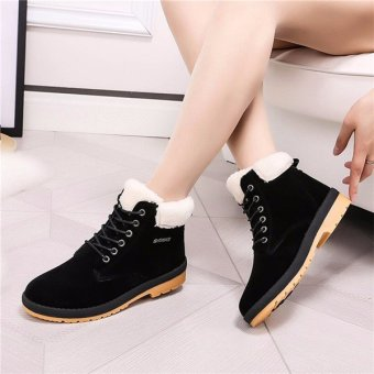 Womens Winter Warm Casual Faux Suede Fur Lace-up Ankle Boots Snow Boots Shoes Black - intl