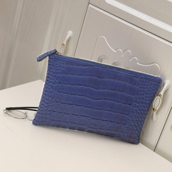 Fashion Women Envelope Handbag Large Tote Ladies Purse Blue - intl
