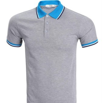 Brand Blue Polo Men Short Sleeve 2017 Mens Summer Fashion Solid Color Polo Shirts Casual Style Polos (Grey) - intl