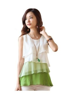 Women's Sleeveless Plus Size Flounce Tiered Chiffon Top (Green)